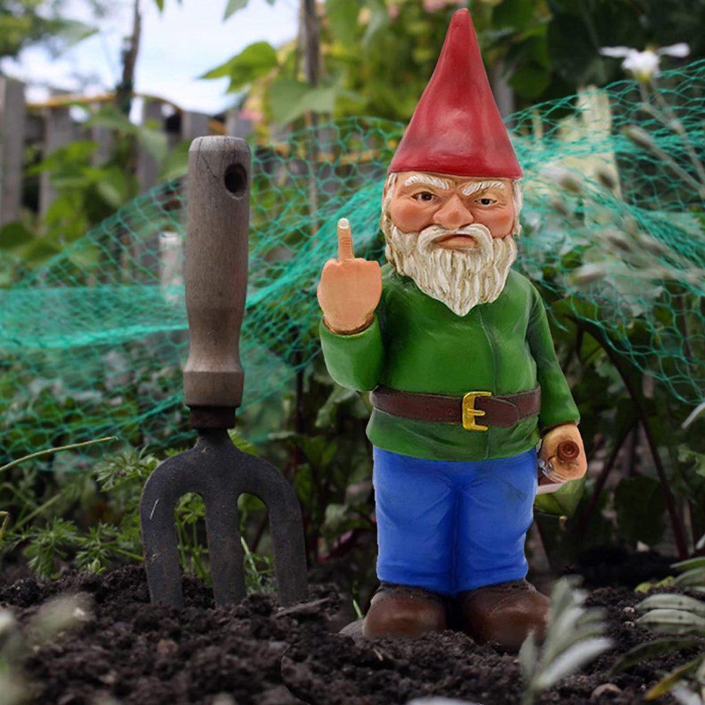 nain de jardin fait un doigt